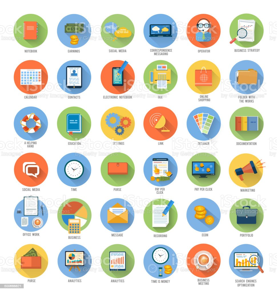 Business, office and marketing items icons. vector art illustration