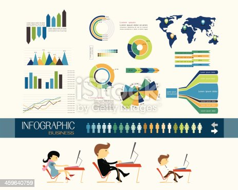 Business office and variety graph, flat design vector illustration