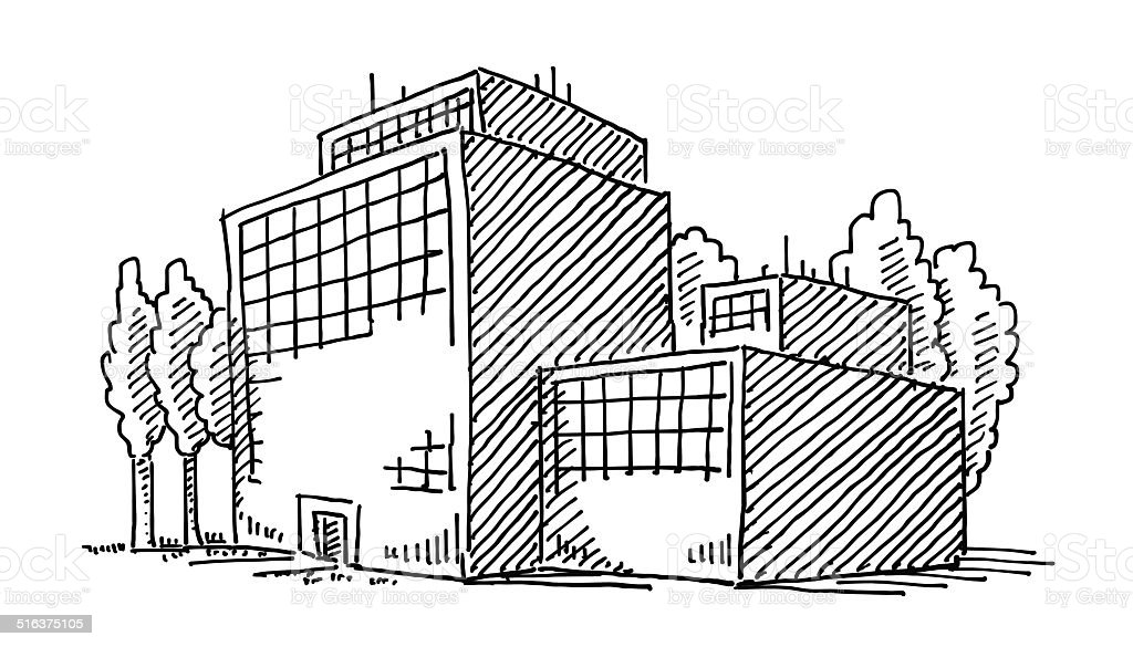 Business Office Building Drawing vector art illustration