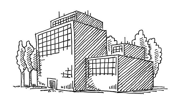 Business Office Building Drawing Hand-drawn vector drawing of a Business Office Building. Digital Drawing on a Boogie Board Sync. Black-and-White sketch on a transparent background (.eps-file). Included files are EPS (v10) and Hi-Res JPG. environment stock illustrations