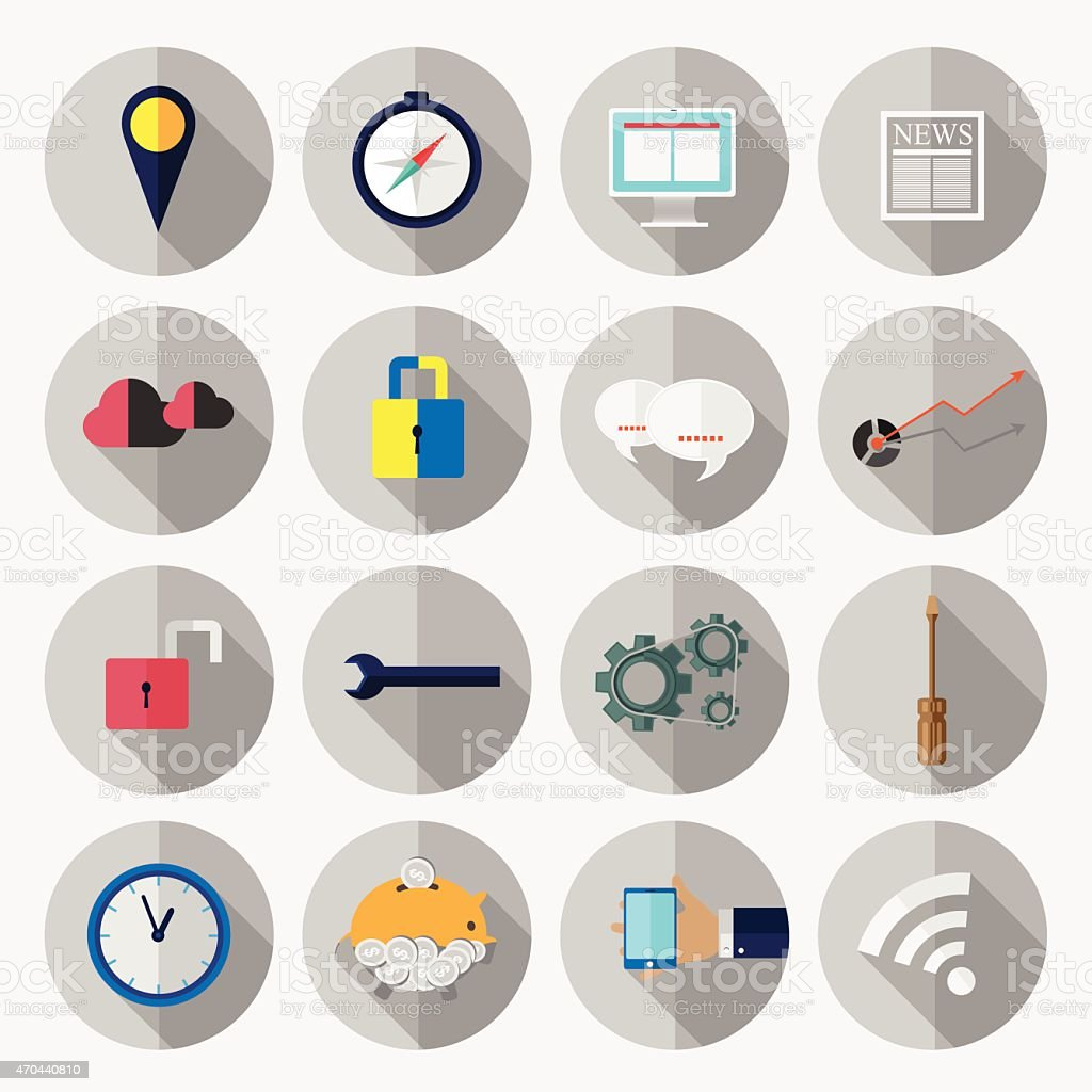 Business office elements icons vector vector art illustration