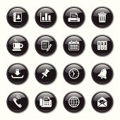 An illustration of Business & Office glossy icons set for your web page, presentation, & design products.