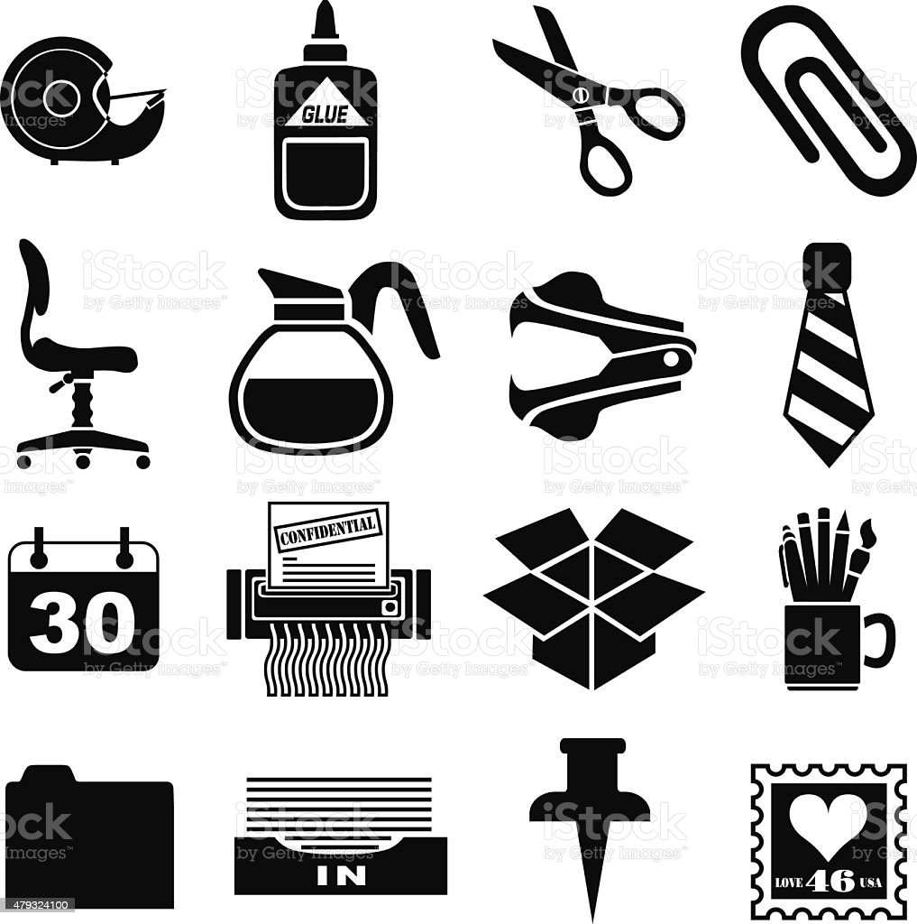 business office icons in black and white vector art illustration