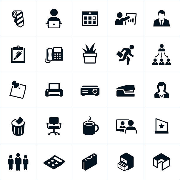 business office icons - workout calendar stock illustrations, clip art, cartoons, & icons