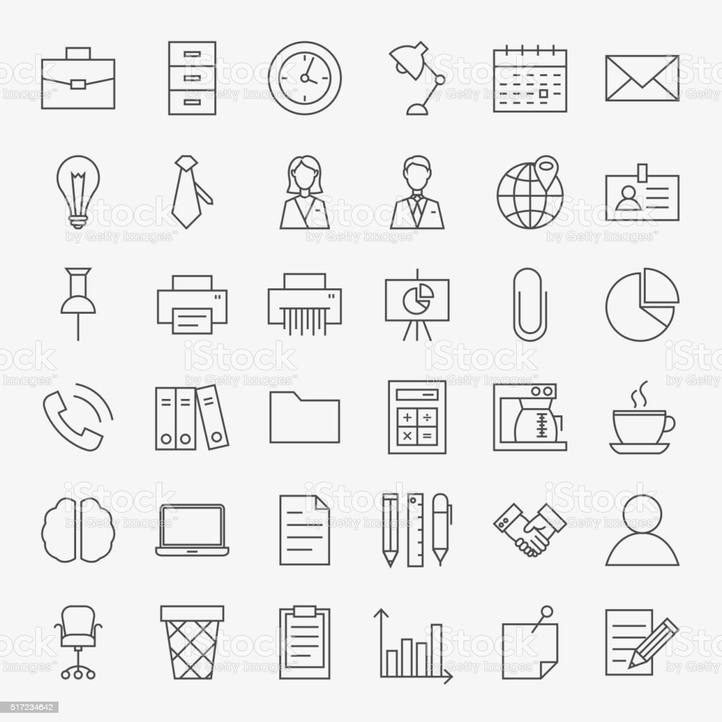 Business Office Life Line Art Design Icons Big Set vector art illustration