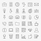 Business Office Life Line Art Design Icons Big Set