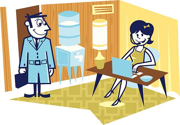 business office lobby - peter bajohr stock illustrations