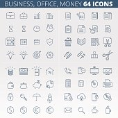 Business, office, money and data protection linear icon set.