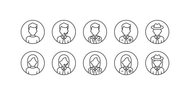 business office beruf avatar umriss icons. - mann stock-grafiken, -clipart, -cartoons und -symbole