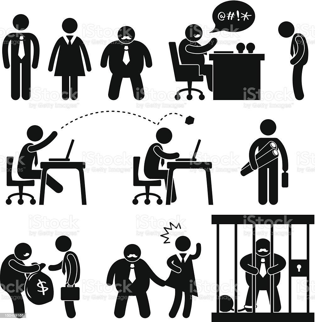 Business Office Scenario Pictogram vector art illustration