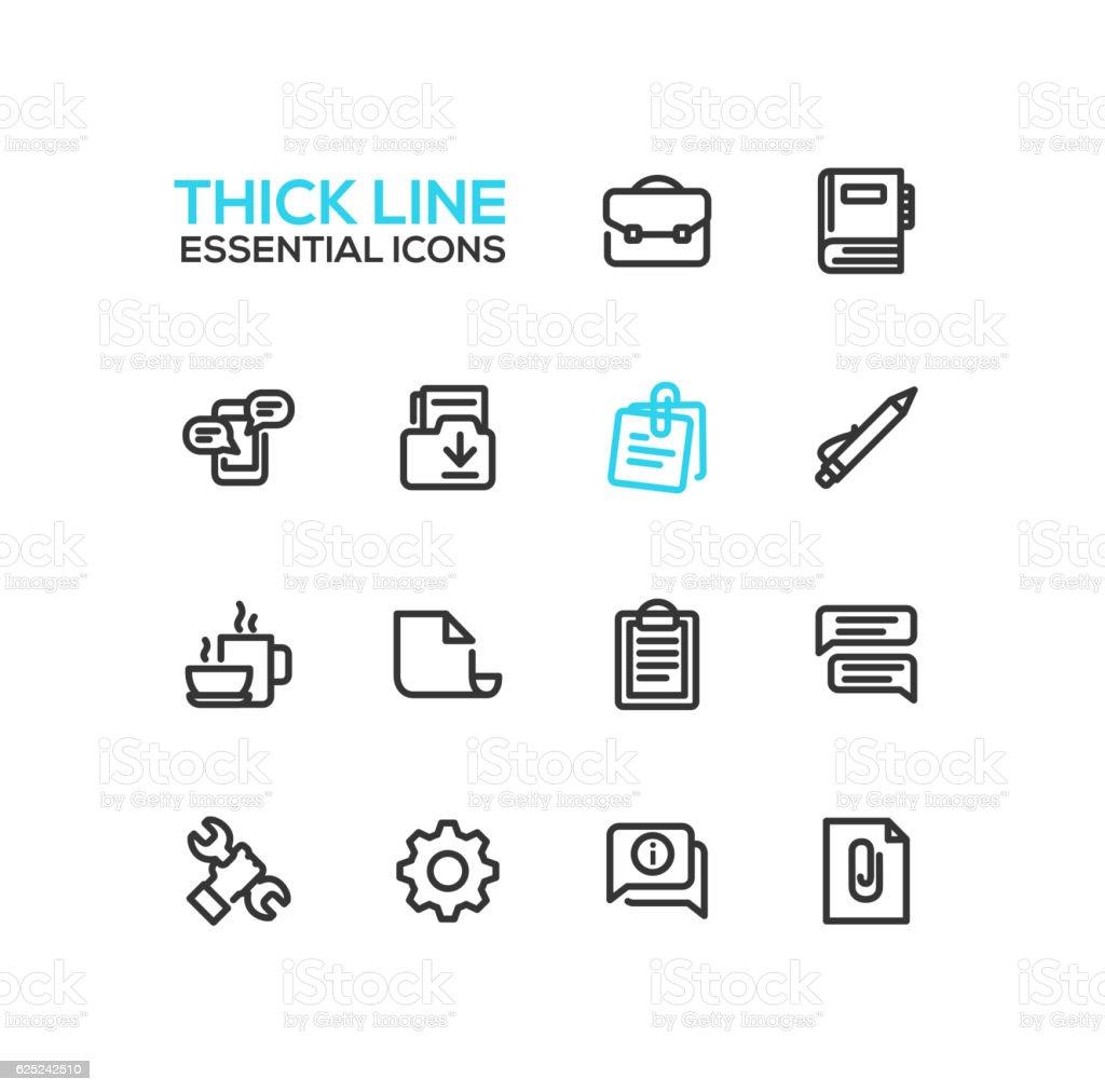 Business, Office - Thick Single Line Icons Set business office thick single line icons set vecteurs libres de droits et plus d'images vectorielles de affaires libre de droits