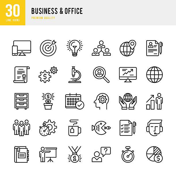 ilustrações, clipart, desenhos animados e ícones de negócios &  escritório-fina linha conjunto de ícones - gerente de contas