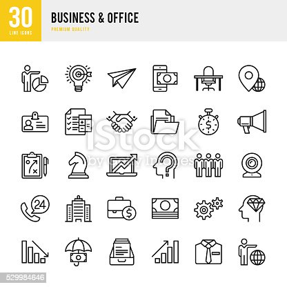 Business & Office set of 30 thin line vector icons.