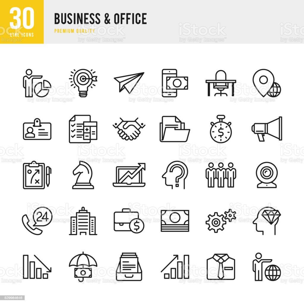 Affaires &  bureau-fine ligne ensemble de icône - Illustration vectorielle