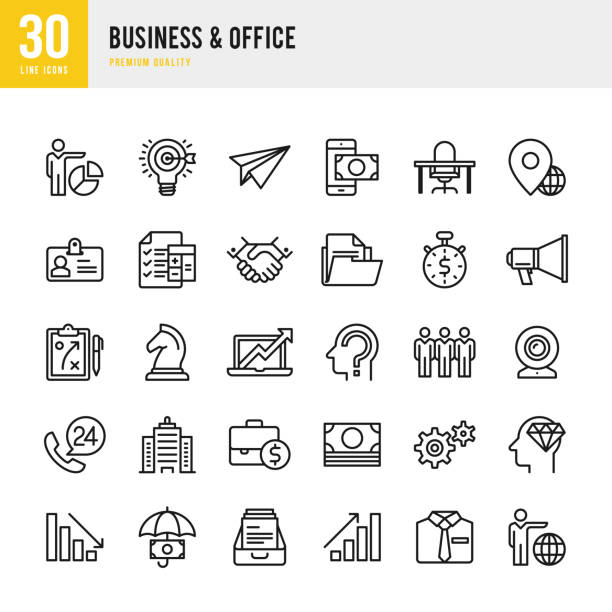 Business & Office - Thin Line Icon Set vector art illustration