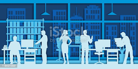 Business people silhouettes in different office situations, vector illustration in paper art modern craft style. Business concept for poster, banner, website page etc.