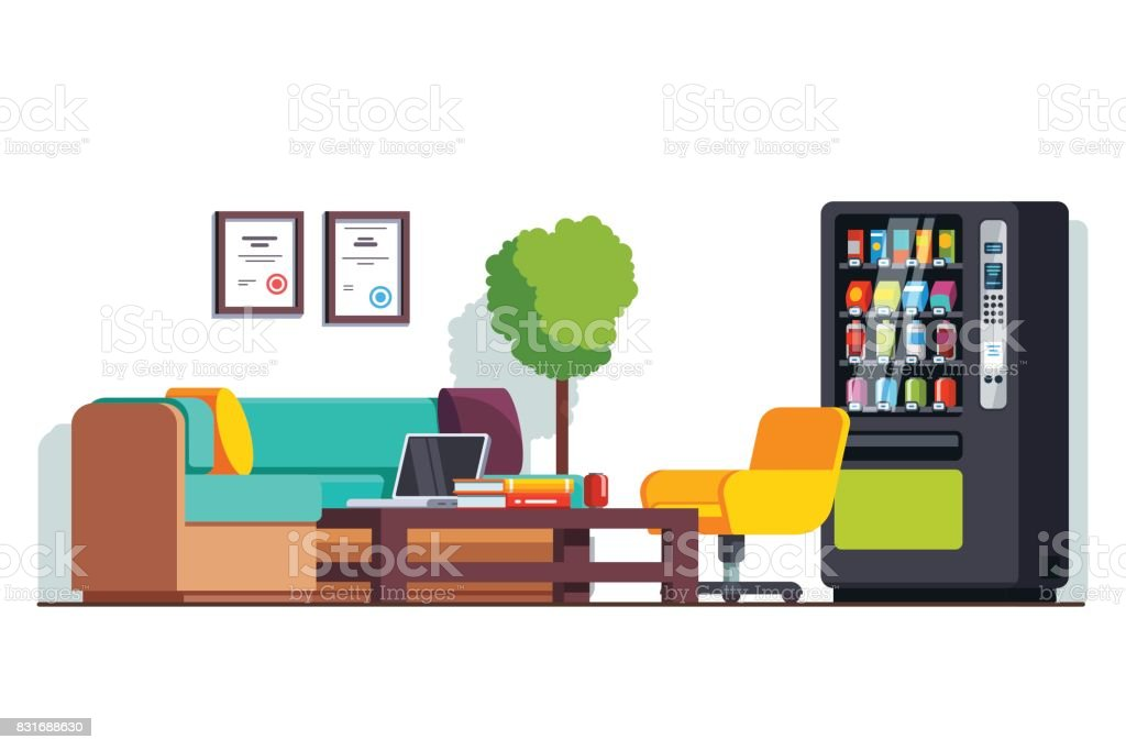 Business office waiting room with vending machine vector art illustration
