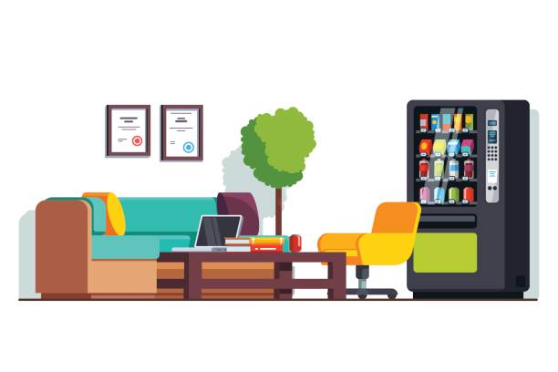 business office waiting room with vending machine - empty vending machine stock illustrations