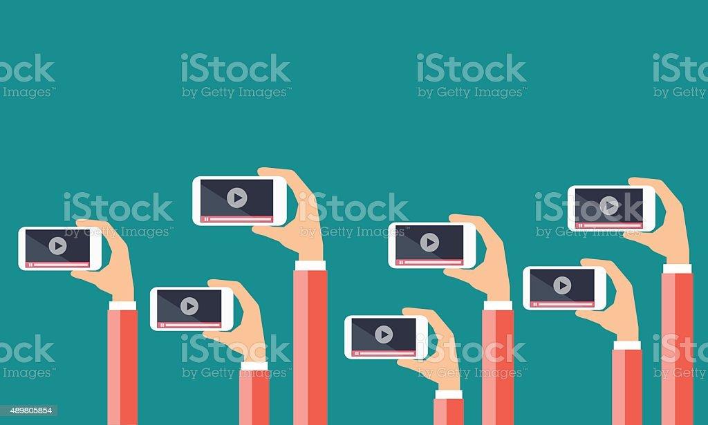 business on line video marketing content concept. vector art illustration