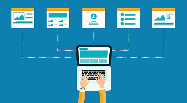 business online content .web design structure and layout. business online content .web design structure and layout. door stock illustrations