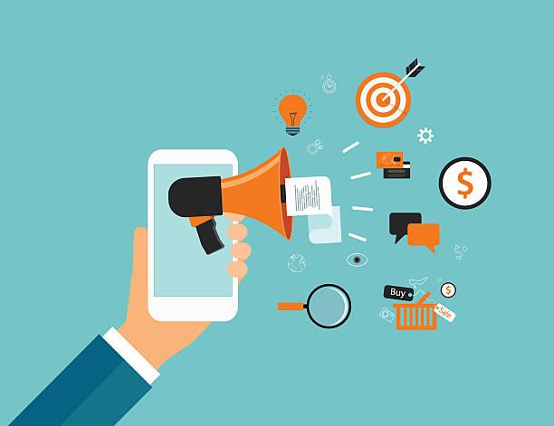 ilustraciones, imágenes clip art, dibujos animados e iconos de stock de concepto de contenido de marketing en línea de negocios y concepto de publicidad comercial - social media