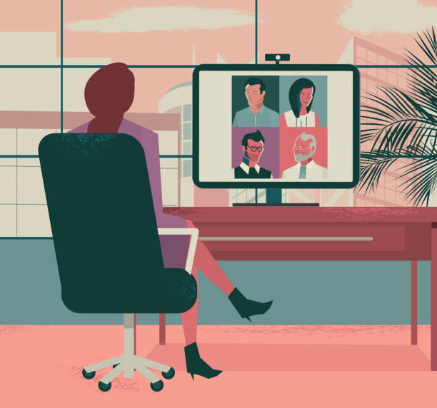 Business online video conference meeting concept vector art illustration