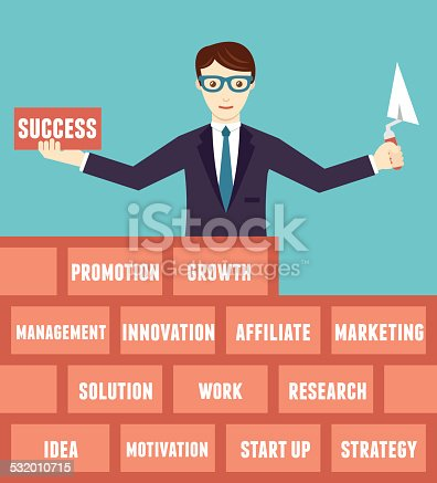 istock Business optimization. Businessman with components of business 532010715