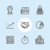 Business / 9 Outline style Pixel Perfect icons / Set #04\n\nFirst row of outline icons contains: \nChess Knight, Newspaper icon, Capitol Building - Washington DC.\n\nSecond row contains: \nGraph Up, Handshake icon, Pie Chart.\n\nThird row contains: \nMaze icon, Stopwatch, Financial Building.\n\nPixel Perfect Principle - all the icons are designed in 64x64px grid, outline stroke 2px. Complete Outline 3x3 PRO collection - https://www.istockphoto.com/collaboration/boards/eKCvfOhp3E-XZOE0AIzWqg
