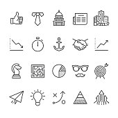20 Business icons / Set #43 Designed in 64x64 px grid, outline stroke 2 px.  First row of icons contains: Thumbs Up, Necktie and White collar, Capitol Building - Washington DC, Newspaper, Financial Building;  Second row contains: Graph Down, Stopwatch, Anchor, Handshake icon, Graph Up;  Third row contains: Chess Knight, Maze icon, Pie Chart, Eyeglasses and Mustache, Sports Target;   Fourth row contains: Paper Airplane, Light bulb (Idea icon), Strategy, Maslow Pyramid, Growing Arrows.  Complete Unico PRO collection - https://www.istockphoto.com/collaboration/boards/dB-NuEl7GUGbQYmVq9IlDg