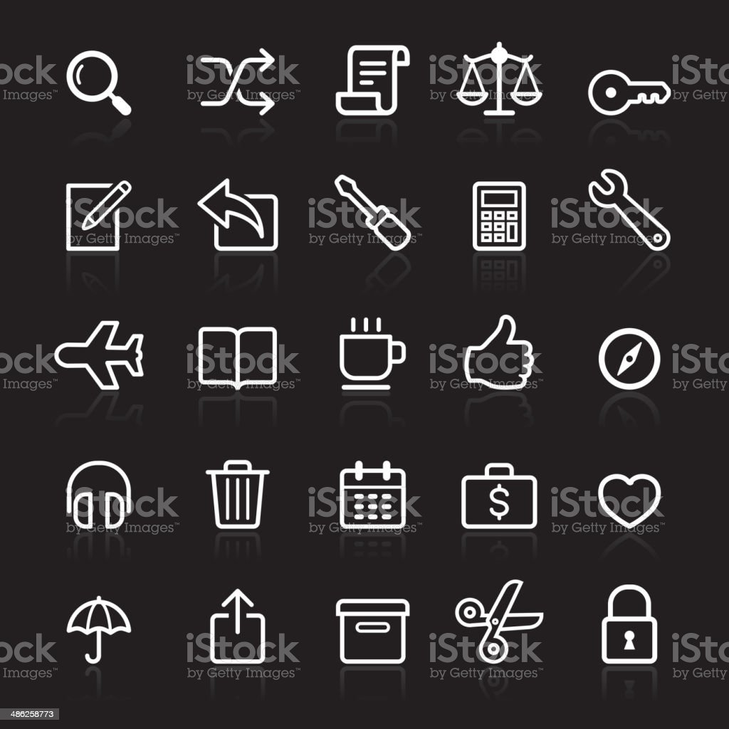 Business outline white icons set. royalty-free stock vector art