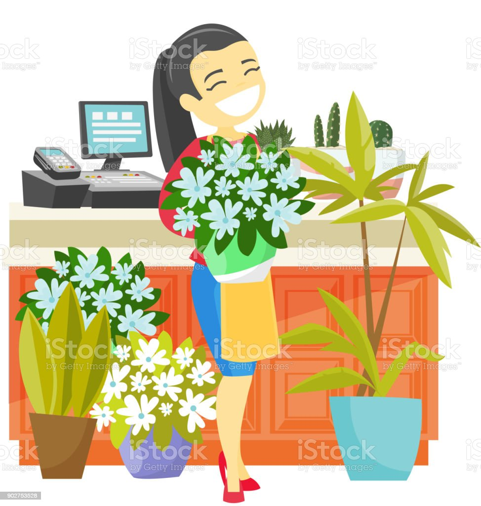 Business owner holding a bouquet in a flower shop vector art illustration