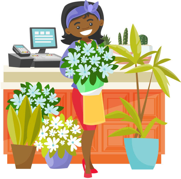 business owner holding a bouquet in a flower shop - small business owner stock illustrations