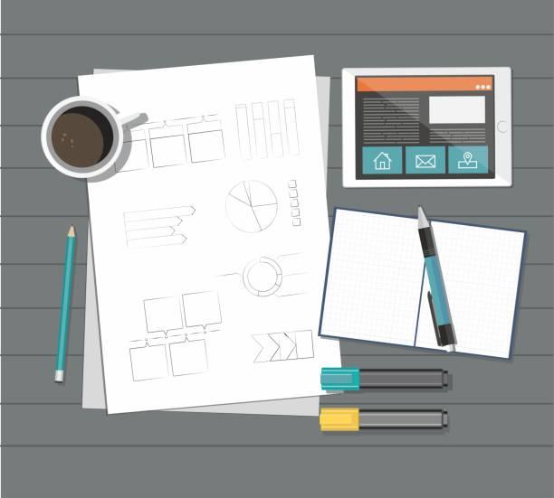 wirtschaftszeitung mit lineal, bleistift, kugelschreiber, kaffee, tablet und rechner auf dem tisch - webdesigner grafiken stock-grafiken, -clipart, -cartoons und -symbole