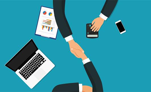 Business handshake stock illustrations