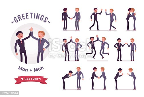 Business partners handshaking, giving high five. Ready-to-use character set. Various poses, emotions, greeting, standing, fist bump, bow, hug. Full length, front, rear view isolated, white background