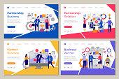 Business partners landing. Web pages template brainstorming people work partnership finance meeting strategy vector designs. Partnership business, people partner relationship illustration