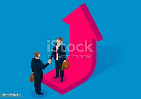 Business, partners, success, business, two people standing on the growing arrow and shaking hands