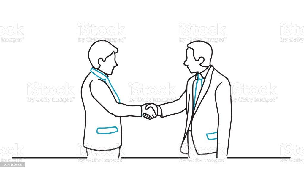 Business partnership agreement vector art illustration