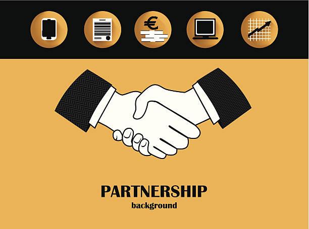 Business partnership background vector art illustration