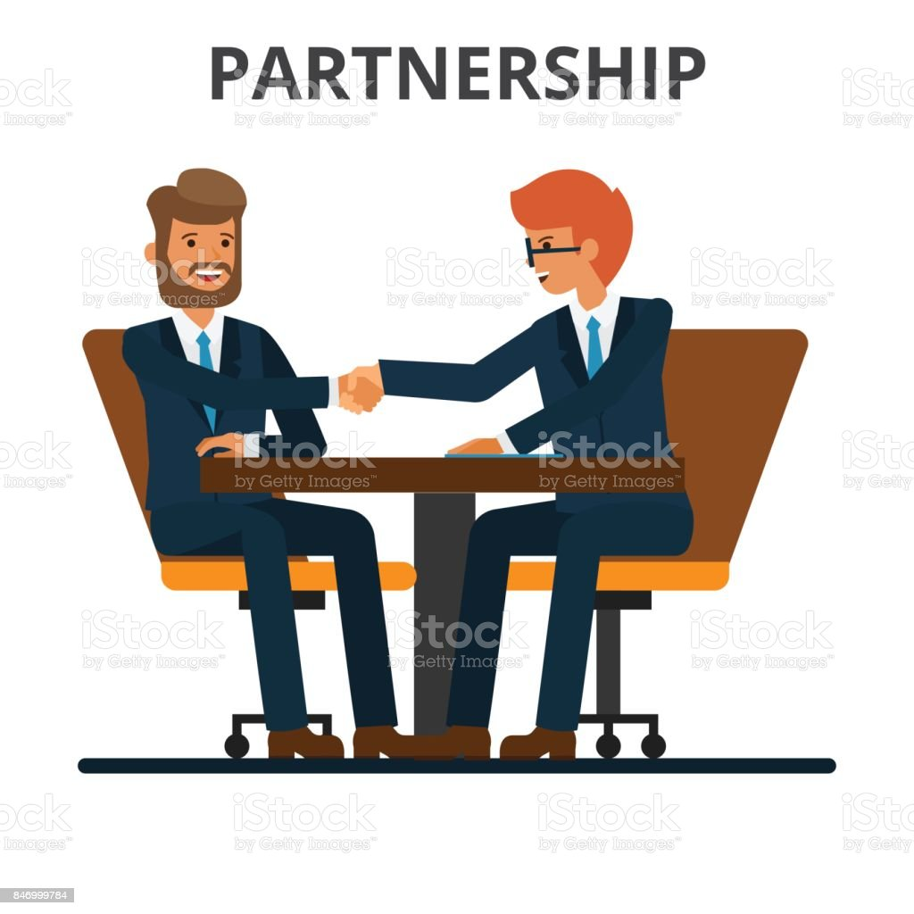Business partnership. Businessmen handshake. Negogiation table. Men shaking hands on a signed contract. Flat style vector illustration isolated on white background. vector art illustration