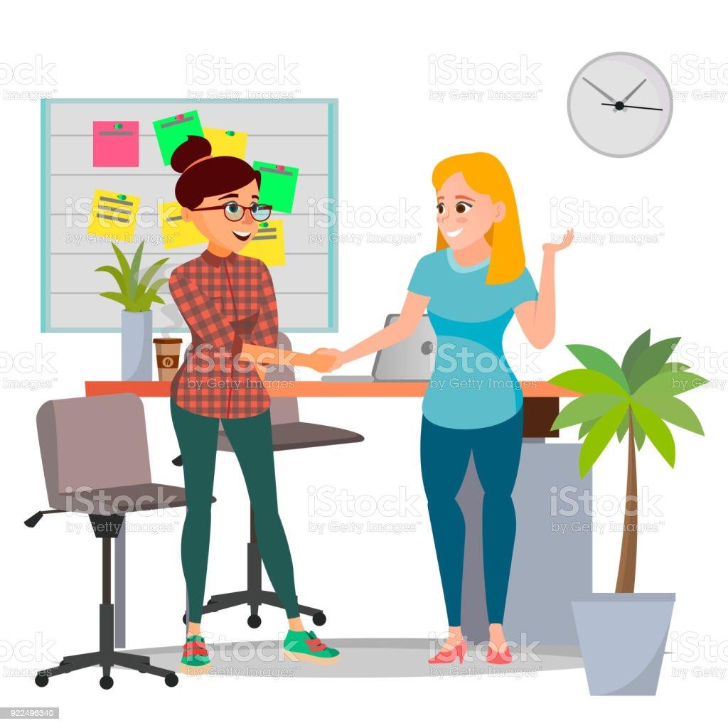 Geschäftliche Partnerschaft Konzept Vektor Zwei Businessfrau Vertrag ...