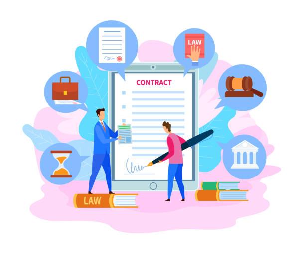 geschäftspartnerschaftsvertrag, cartoon-abkommen - rechtsassistent stock-grafiken, -clipart, -cartoons und -symbole