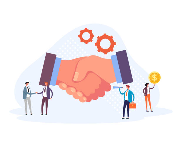 Business partnership handshake concept. Vector flat graphic design illustration vector art illustration