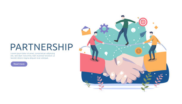 illustrazioni stock, clip art, cartoni animati e icone di tendenza di business partnership relation concept with hand shake and tiny people character. team working together template for web landing page, banner, presentation, mockup, social media. vector illustration. - legame affettivo