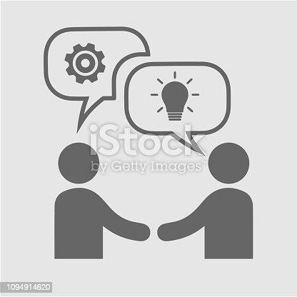Business partnership vector icon. Hands shaking meeting. Two businessmen handshake.