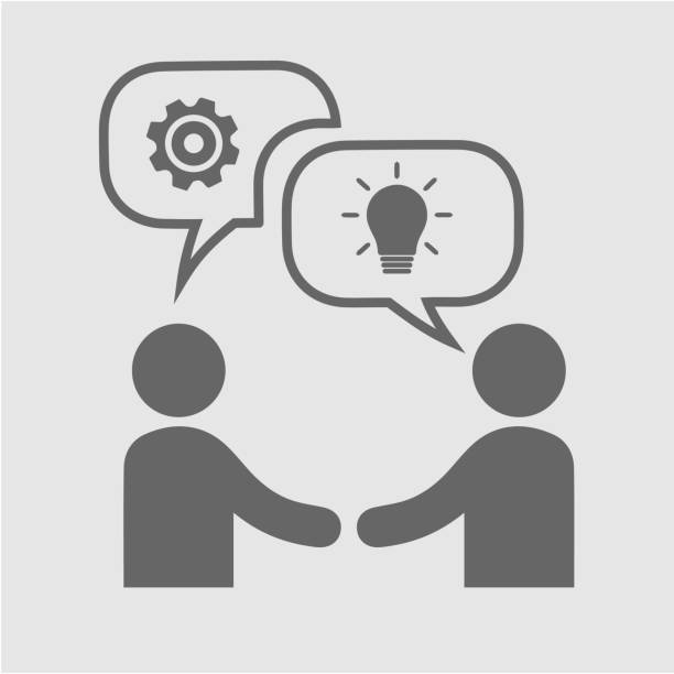 Business partnership Business partnership vector icon. Hands shaking meeting. Two businessmen handshake. two people stock illustrations