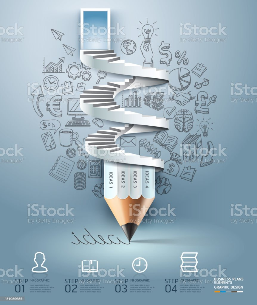 Business pencil staircase Infographics option. vector art illustration