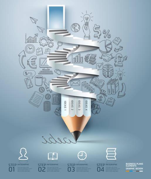 Lápiz de escalera infografías opción. - ilustración de arte vectorial