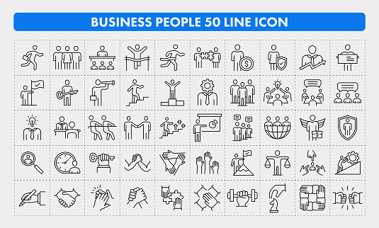 Business People 50 Line Icon