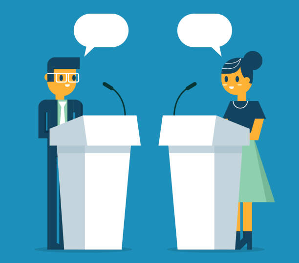 Business people a speaking at podium The opposite side of a business person speaking on stage. debate stock illustrations